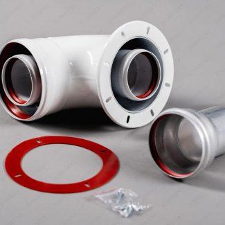Колено коаксиальное алюминиевое отвод 90 гр. 60/100 стартовый CC-NV-01 NAVIEN