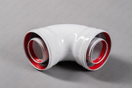 Колено коаксиальное алюминиевое отвод 90 гр. 60/100 СС-01-90 мама-мама