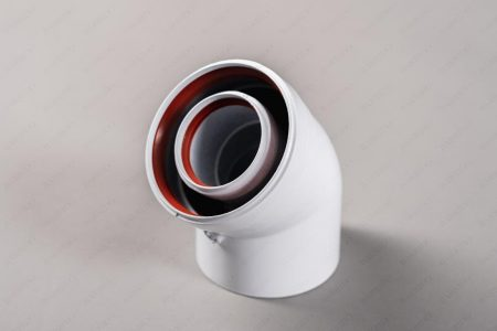 Коаксиальное колено отвод 45 гр. Ø 60/100, папа/мама СС-02-45