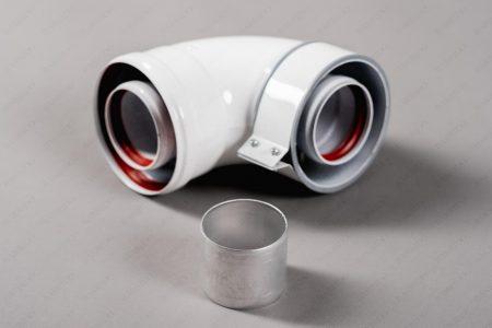 Колено коаксиальное алюминиевое отвод 90 гр. 60/100 стартовый CС-BX-01 для Baxi. с адаптером 60м/м для Ariston, vaillant