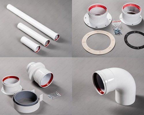 Раздельная система дымоудаления 80 мм (трубы, отводы, муфты, адаптеры, конденсатоотводчики)