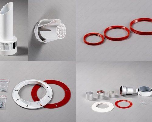 Комплектующие, кольца, прокладки, наконечники, декор накладки, фланцы 60/100мм, 100мм, 80мм, 60мм