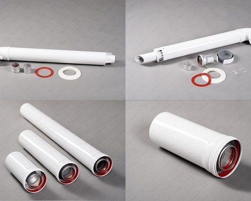 Коаксиальные дымоходы 60/100 мм, коаксиальные удлинения 60/100мм, коаксиальные дымоходы 75/100 мм